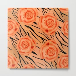 Orange roses on tiger background . Metal Print