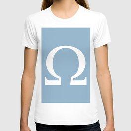 Greek letter Omega sign on placid blue background T-shirt