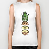 pineapple Biker Tanks featuring Pineapple by Jan Luzar