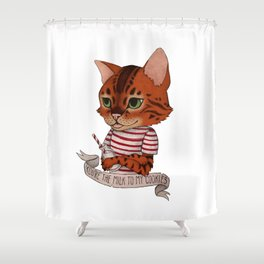 FRANKIE THE CAT - white Shower Curtain