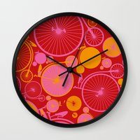 bikes Wall Clocks featuring Bikes by Helene Michau