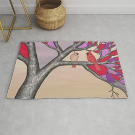 northern cardinals in the stained glass tree Rug