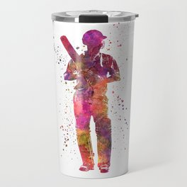Cricket player batsman silhouette 10 Travel Mug