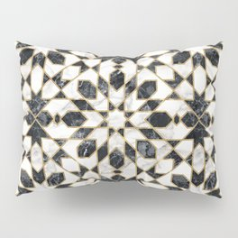 Black and white marble Moroccan mosaic Pillow Sham
