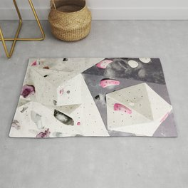 Geometric abstract free climbing gym wall boulders pink white Rug