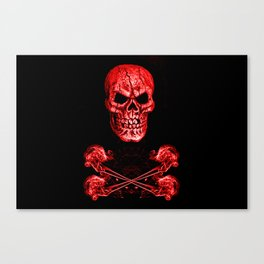 Skull And Crossbones Red Canvas Print
