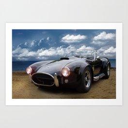 Black Car on the Beach Art Print