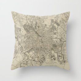 Vintage Map of Baltimore MD (1919) Throw Pillow