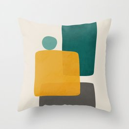 Teal Mustard Abstract Shapes 01 Throw Pillow