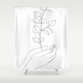 Minimal Hand Holding the Branch II Shower Curtain