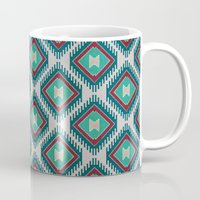 kilim Mugs featuring Pistachio Persian Kilim by Katayoon Photography