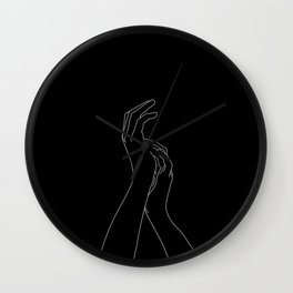 Hands line drawing illustration - Carly Black Wall Clock