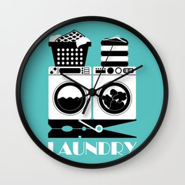 Retro Laundry Sign - Turquoise, Black and White Wall Clock