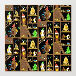 Chicken Coop Christmas - funny chickens, farm, holidays Canvas Print