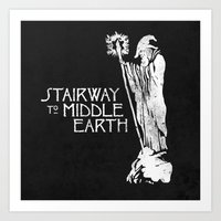 middle earth Art Prints featuring stairway to middle-earth by jerbing
