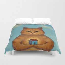 Every Cat need a Home. Ginger Cat Illustration Duvet Cover