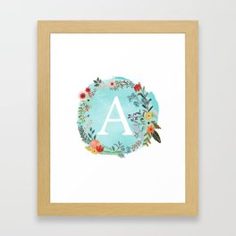 Personalized Monogram Initial Letter A Blue Watercolor Flower Wreath Artwork Framed Art Print
