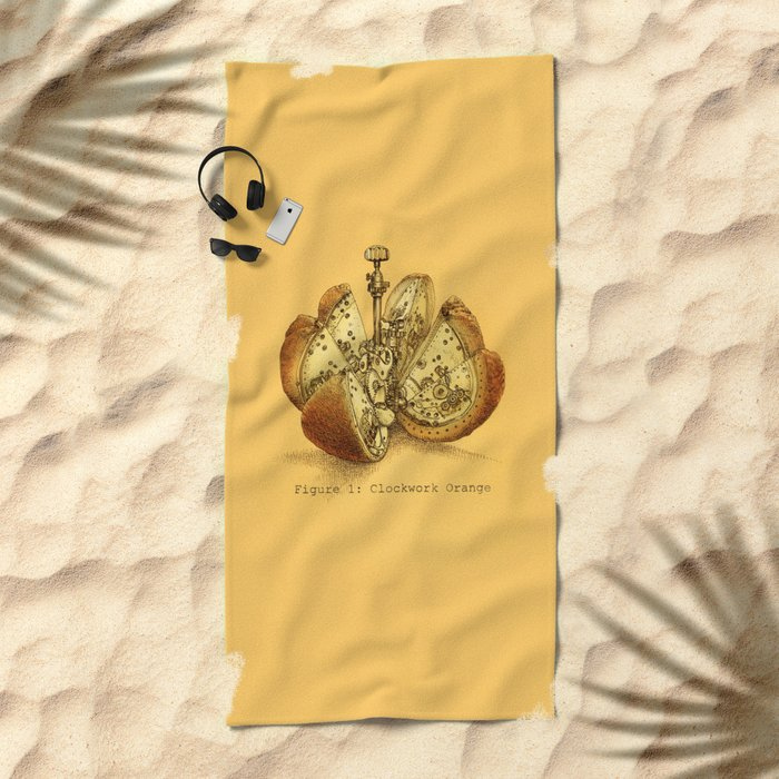 Steampunk Orange Beach Towel