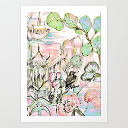 ORIENTAL ASIAN PAGODA DESIGN , CHINA JAPAN PRINT Art Print