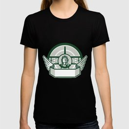 World War One Airman Biplane Circle Retro T-shirt