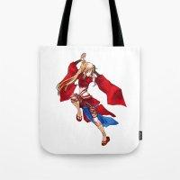 manga Tote Bags featuring Manga Hero by SpaceMonolith