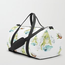 Modern hand painted teal green watercolor crocodile floral Duffle Bag