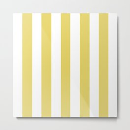 Hansa yellow -  solid color - white vertical lines pattern Metal Print