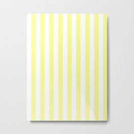 Narrow Vertical Stripes - White and Pastel Yellow Metal Print