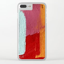 Desert Daydreams [2]: a vibrant, colorful abstract acrylic piece in pink, red, orange, and blue Clear iPhone Case