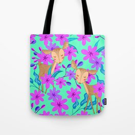 Cute wild sweet little baby deer fawns lost in the forest of blooming pink flowers illustration. Tote Bag