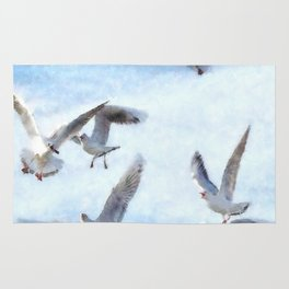 Gulls In Flight Watercolor Rug