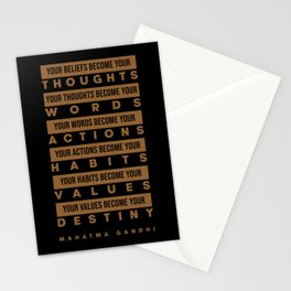 Mahatma Gandhi Quote - Your Beliefs become your thoughts 1 - Minimal, Typography Print - Inspiring Stationery Cards