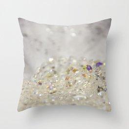 White Crystals Bokeh Throw Pillow