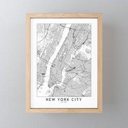 New York City White Map Framed Mini Art Print