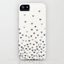 BLACK WATERCOLOR HEARTS iPhone Case