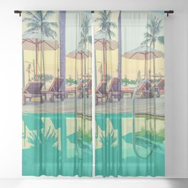 Summer By The Pool Sheer Curtain