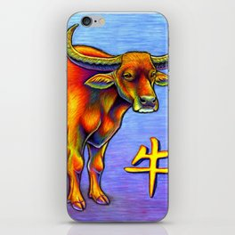 Chinese Zodiac Year of the Ox Colorful Bull iPhone Skin