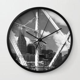 Nashville City Scape Black and White Wall Clock