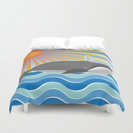 Happy Whale Duvet Cover