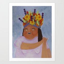 Fruit Basket Woman Art Print