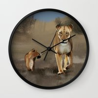 lions Wall Clocks featuring Lions by Elena Napoli
