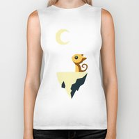 calm Biker Tanks featuring Moon Cat by Freeminds
