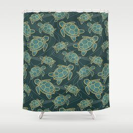 Japanese Pond Turtle / Teal Shower Curtain