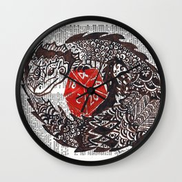 Here Be Dragons  (dragon and d20 dice on dictionary page) Wall Clock
