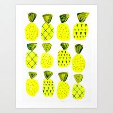 Modern Pineapples Painting Art Print