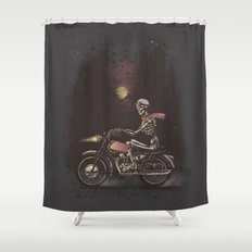 Death Rides in the Night Shower Curtain