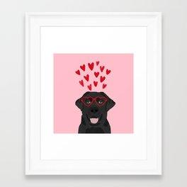 Black Lab love hearts glasses labrador retriever valentines day gifts Framed Art Print