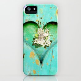 Heart, wood, love, wooden, old, heart background iPhone Case