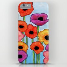 Colorful Poppies on Blue iPhone 6s Plus Slim Case