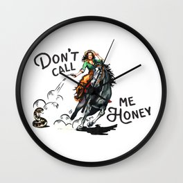 """Don't Call Me Honey"" Cowgirl On Horseback Shooting a Rattlesnake Wall Clock"